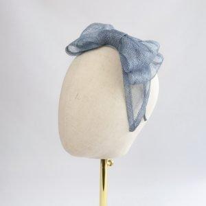 Dusky Blue Large Sinamay Bow Fascinator