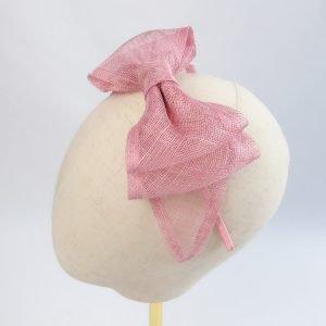 Dusky Pink Large Sinamay Bow Fascinator