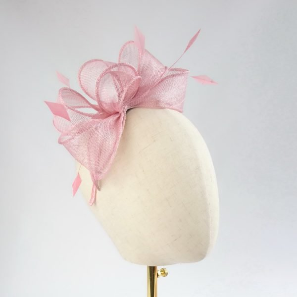 Dusky Pink Loop Fascinator with Coque Feathers