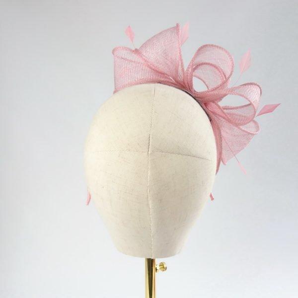 Dusky Pink Feather Fascinators