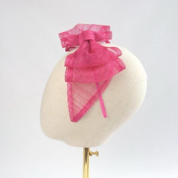 Vegan Friendly Fascinators. Fuschia pink sinamay bow, mounted on matching, satin-covered headband.