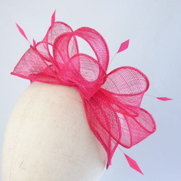 Fuchsia Pink Loop Fascinator with Coque Feathers