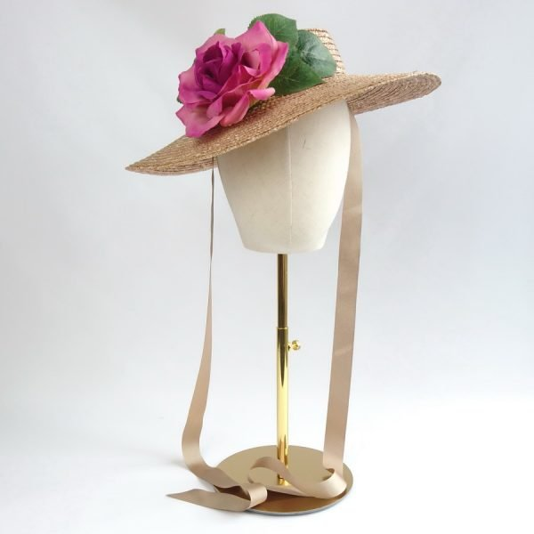 Summer Race Day Hat in Gold with a Detachable Dark Pink Rose