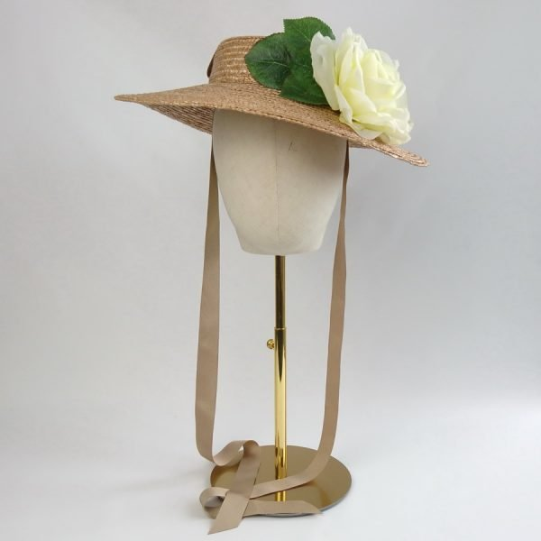 Vintage Style Sun Hat in Gold with a Detachable Ivory Rose