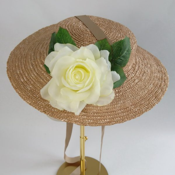Summer Wedding Hat in Gold with a Detachable Ivory Rose