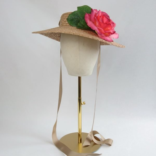 Summer Casual Hat in Gold with a Detachable Pink Rose