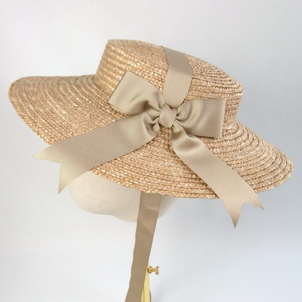 Summer Wedding Hat in Gold with a Detachable Gold Ribbon Bow