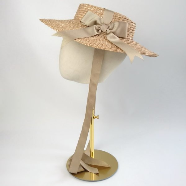 Wedding Hats for Guests in Gold with a Detachable Gold Ribbon Bow