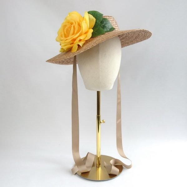Wedding Hats for Guests in Gold with a Detachable Yellow Rose