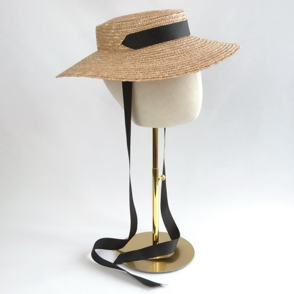 Wedding Hats for Guests in Gold with a Detachable Black Ribbon Tie
