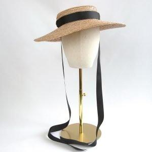 Gold Straw Boater Sun Hat