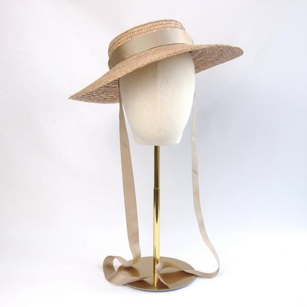 Summer Casual Hat in Gold with a Detachable Gold Ribbon Tie