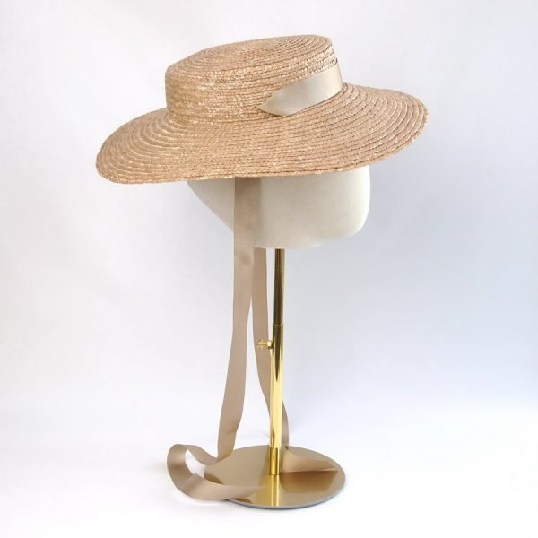 Vintage Style Sun Hat in Gold with a Detachable Gold Ribbon Tie