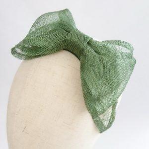 Green Large Sinamay Bow Fascinator