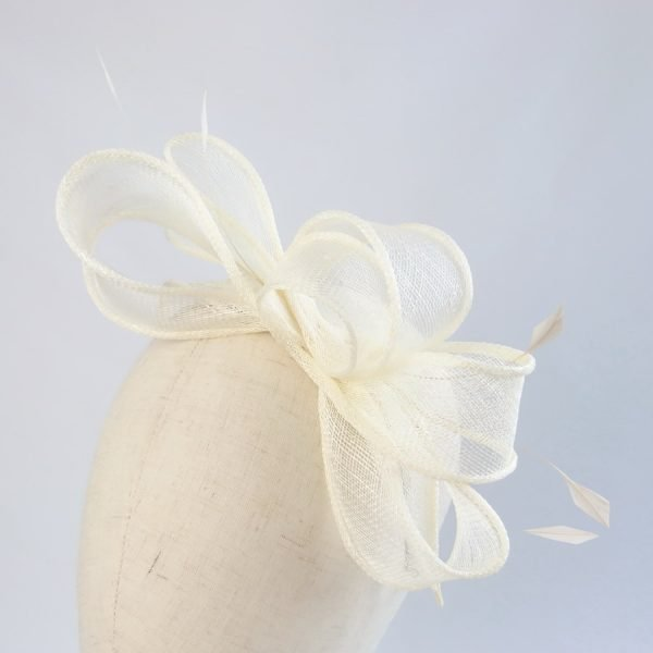 Ivory Sinamay and Feather Fascinator
