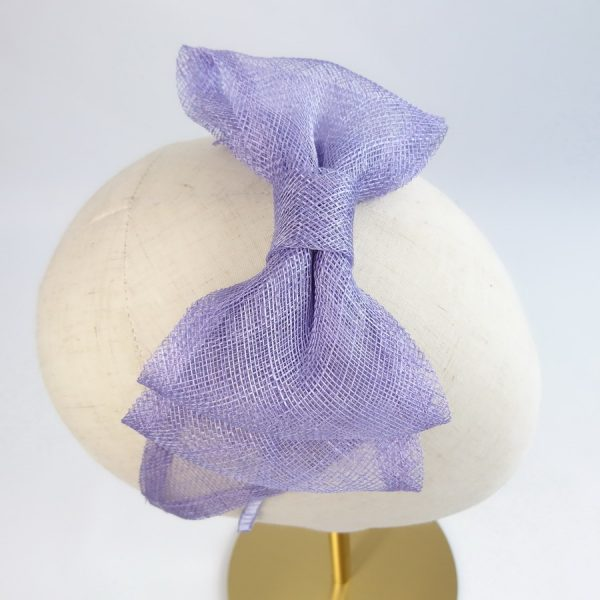 Lilac Bridesmaid Hair Accessories - close up of large pale purple sinamay bow