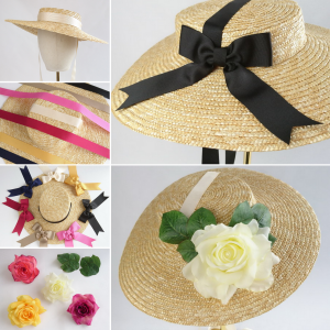 Natural Straw Boater Sun Hat Customisation Options