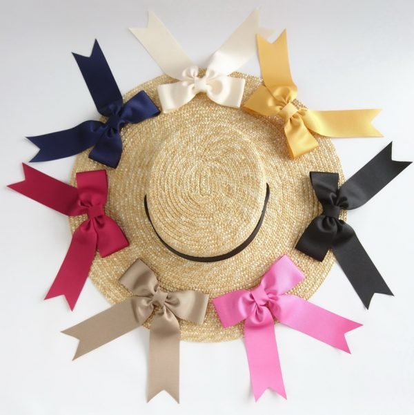 Detachable Ribbon Bows for Sun Hats shown with Natural Straw