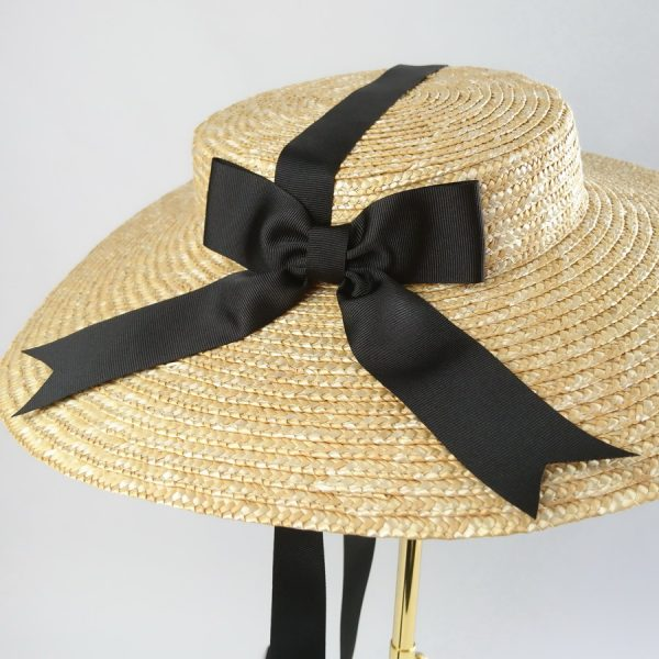 Summer Wedding Hat in Natural with a Detachable Black Ribbon Bow