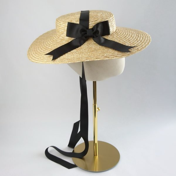 Wedding Hats for Guests in Natural with a Detachable Black Ribbon Bow