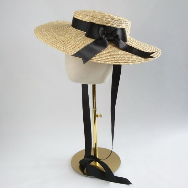 Summer Casual Hat in Natural with a Detachable Black Ribbon Bow