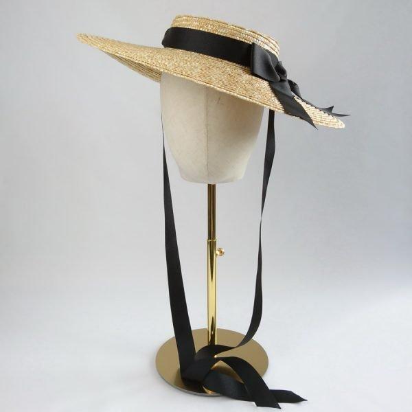 Vintage Style Sun Hat with a Detachable Black Ribbon Bow