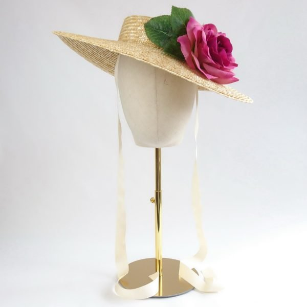 Summer Race Day Hat in Natural with a Detachable Dark Pink Rose