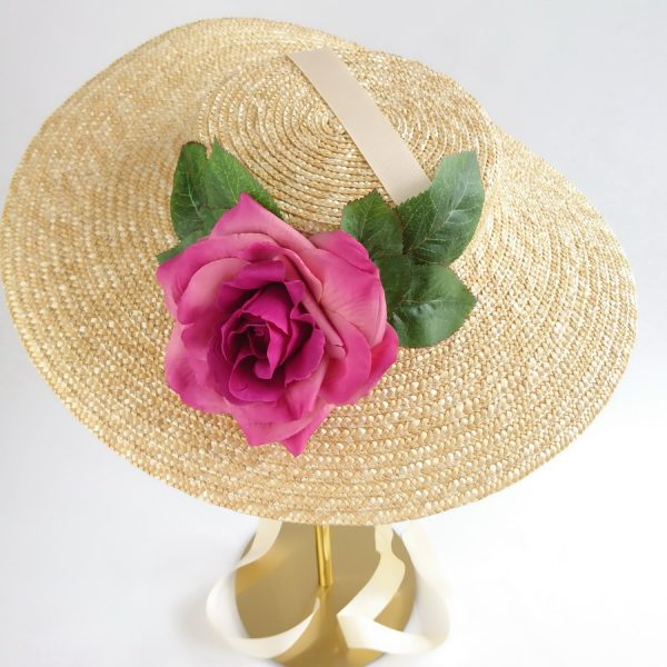 Wedding Hats for Guests in Natural with a Detachable Dark Pink Rose