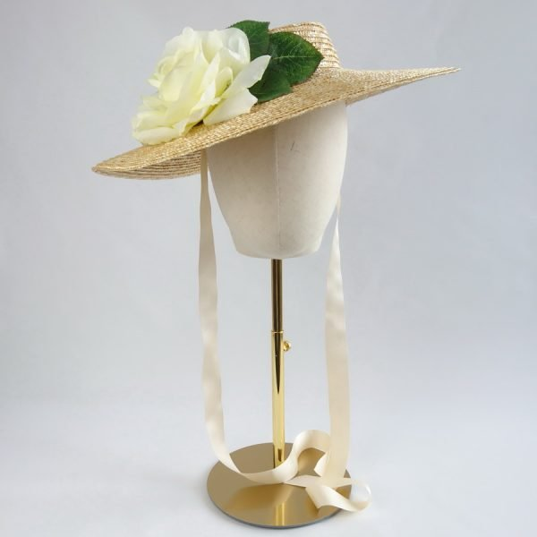Vintage Style Sun Hat in Natural with a Detachable Ivory Rose