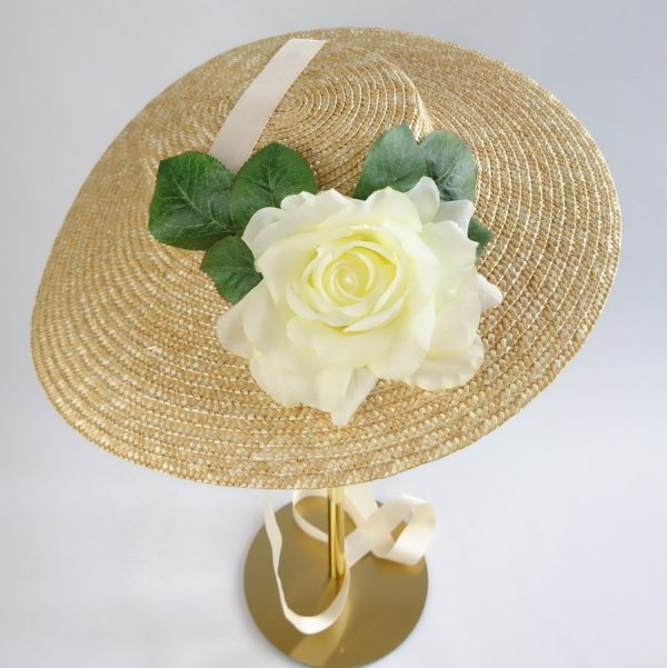 Summer Wedding Hat in Natural with a Detachable Ivory Rose