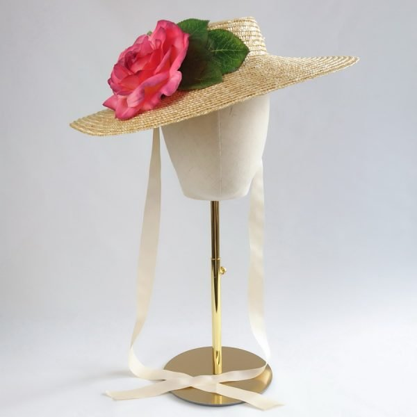Summer Casual Hat in Natural with a Detachable Pink Rose