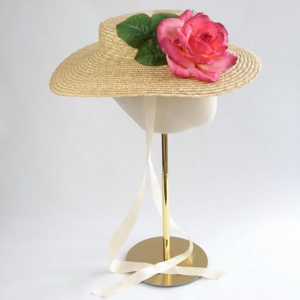 Vintage Style Sun Hat in Natural with a Detachable Pink Rose