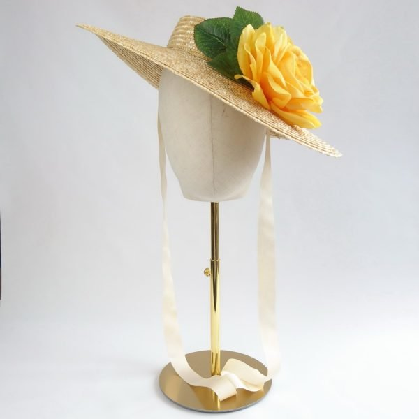 Wedding Hats for Guests in Natural with a Detachable Yellow Rose