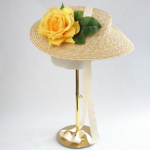 Summer Casual Hat in Natural with a Detachable Yellow Rose