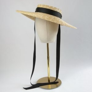 Natural Straw Boater Sun Hat worn with black ribbon ties