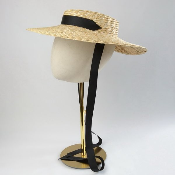 Summer Casual Hat in Natural with a Detachable Black Ribbon Tie
