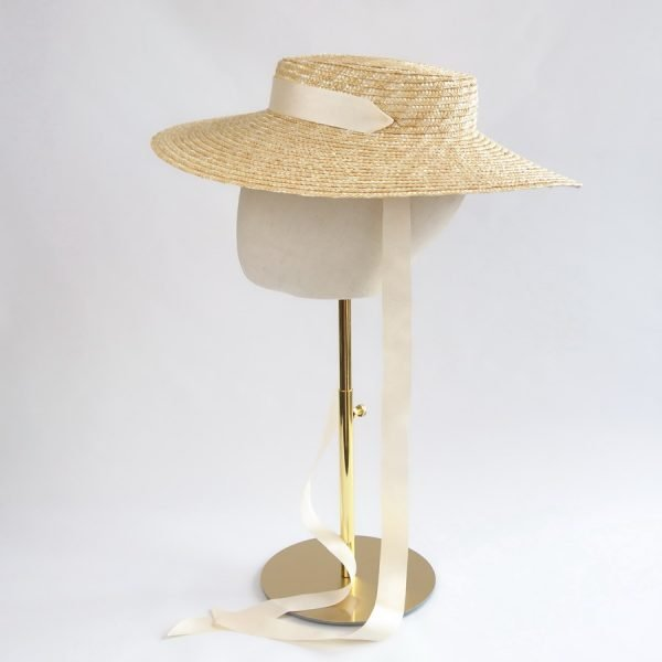 Wedding Hats for Guests in Natural with a Detachable Ivory Ribbon Tie
