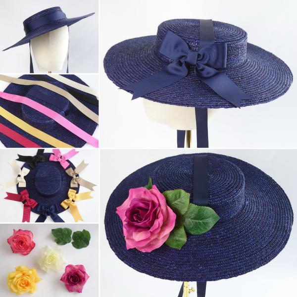 Navy Straw Boater Sun Hat Customisation Options