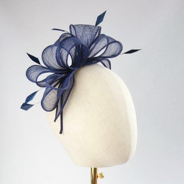Navy Blue Feather Fascinators