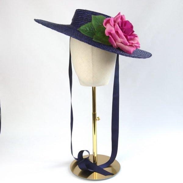 Summer Wedding Hat in Navy with a Detachable Dark Pink Rose