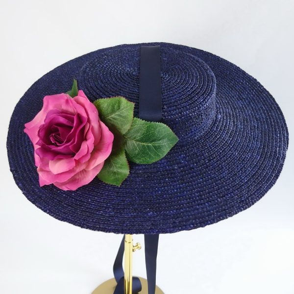 Summer Race Day Hat in Navy with a Detachable Dark Pink Rose
