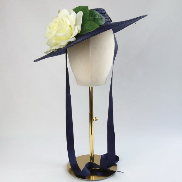 Vintage Style Sun Hat in Navy with a Detachable Ivory Rose