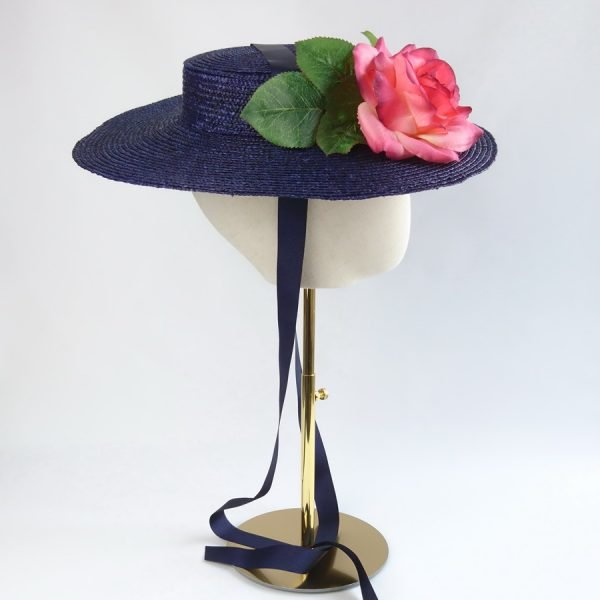 Vintage Style Sun Hat in Navy with a Detachable Pink Rose