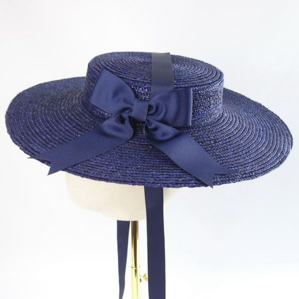 Summer Wedding Hat in Navy with a Detachable Navy Ribbon Bow