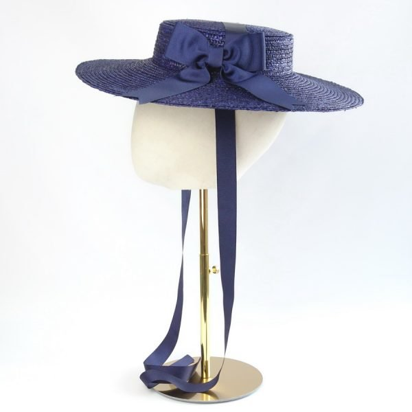 Wedding Hats for Guests in Navy with a Detachable Navy Ribbon Bow