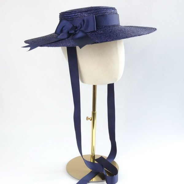 Summer Casual Hat in Navy with a Detachable Navy Ribbon Bow
