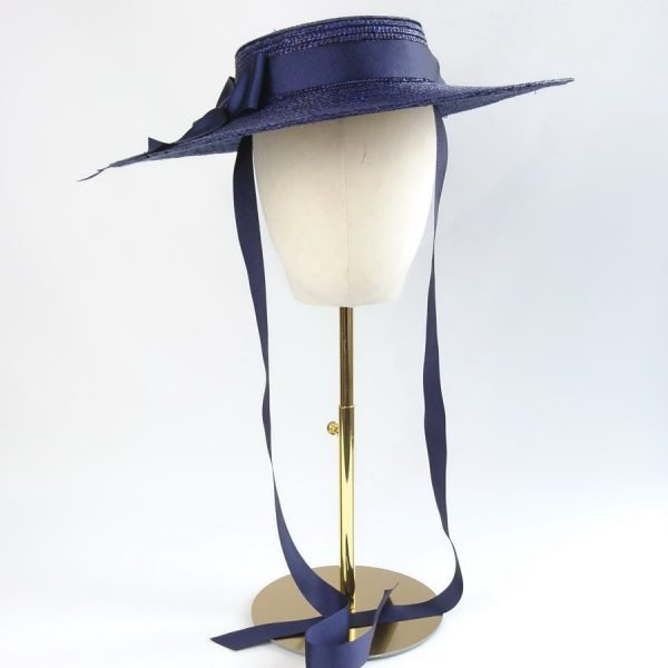 Vintage Style Sun Hat in Navy with a Detachable Navy Ribbon Bow