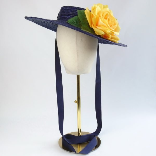 Wedding Hats for Guests in Navy with a Detachable Yellow Rose