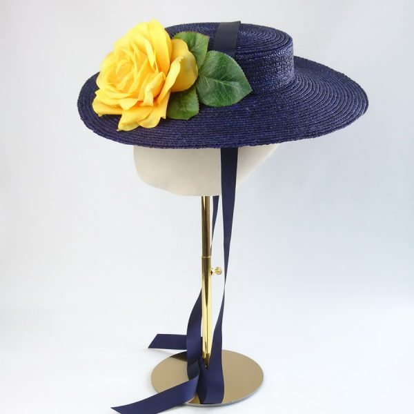 Summer Casual Hat in Navy with a Detachable Yellow Rose