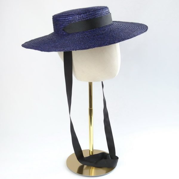 Wedding Hats for Guests in Navy with a Detachable Black Ribbon Tie